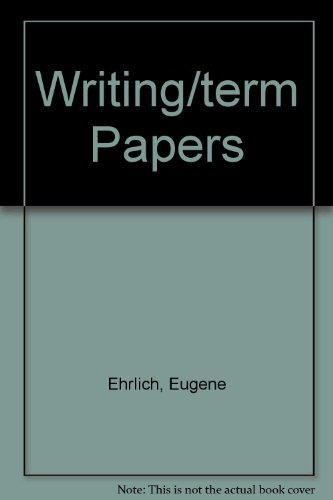 Writing/term Papers (0553260790) by Ehrlich, Eugene