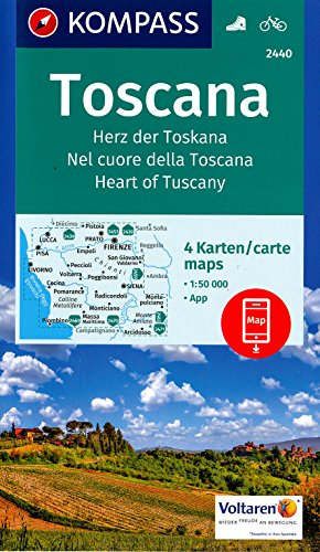 9780553413410: Tuscany (Toscana, Italy) 1:50,000 Hiking Maps, 4-Map Set KOMPASS