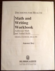 9780554000077: Decisions for Health: Math and Writing Workbook Answer Key All Levels