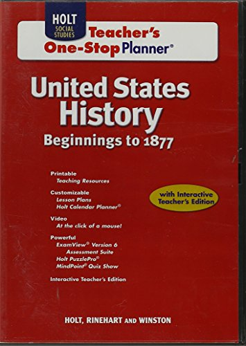 9780554003412: United States History Beginnings to 1877 Teacher's One-Stop Planner