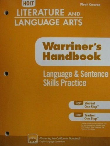 9780554010984: Holt Literature & Language Arts Warriner's Handbook California: Language and Sentence Skills Practice Grade 7 First Course