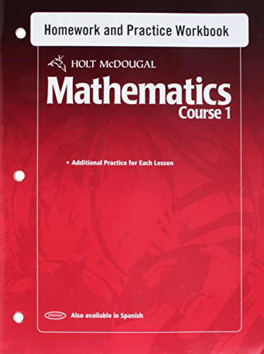 Holt McDougal Mathematics: Homework and Practice Workbook: MCDOUGAL, HOLT