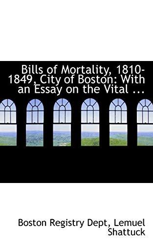 9780554769769: Bills of Mortality, 1810-1849, City of Boston