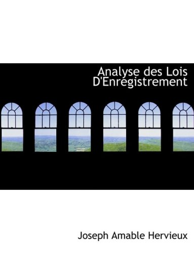 9780554772868: Analyse des Lois D'Enregistrement (Large Print Edition) (French Edition)