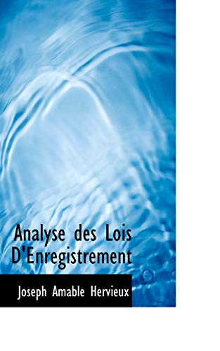9780554772936: Analyse des Lois D'Enregistrement (French Edition)
