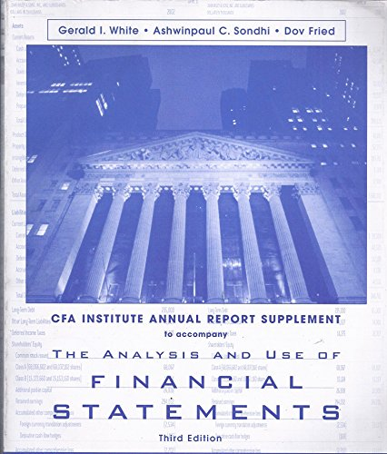 9780555012307: The Analysis and Use of Financial Statements (AIMR Annual Report Supplement)