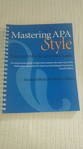 9781557988904 mastering apa style instructor s resource guide rh abebooks com