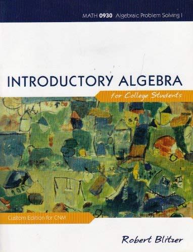 9780558063887: Introductory Algebra for College Students (Math 0930 Algebraic Problem Solving I - Custom Edition for CNM)