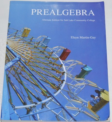 9780558287832: Prealgebra Alternate Edition for Salt Lake Community College