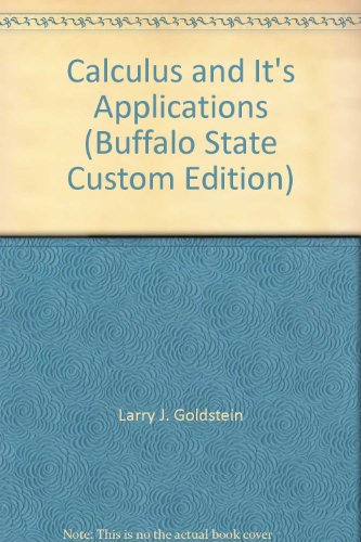 Calculus and It's Applications (Buffalo State Custom Edition)