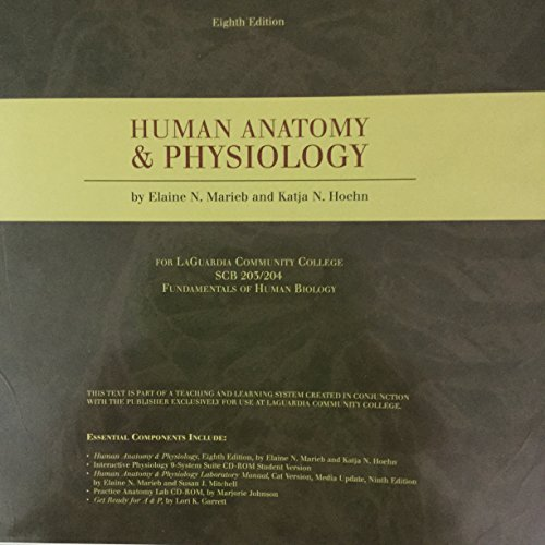 9780558339432: HUMAN ANATOMY AND PHYSIOLOGY 8th Edition by Elaine N. Marieb and Katja N. Hoehn For LaGuardia Community College SCB203/204 Fundamentals of Human Biology