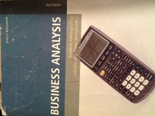 9780558391287: Business Analysis Problem Solving Using Calculus and Finite Mathematics