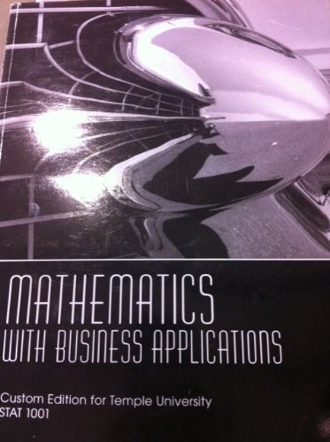 9780558830335: Mathematics with Business Applications (Custom Edition for Temple University, Stat 1001)