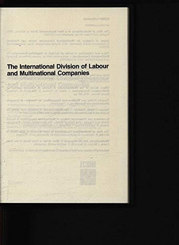 International Division of Labour and Multinational Companies: Tharakan, P.K.M.