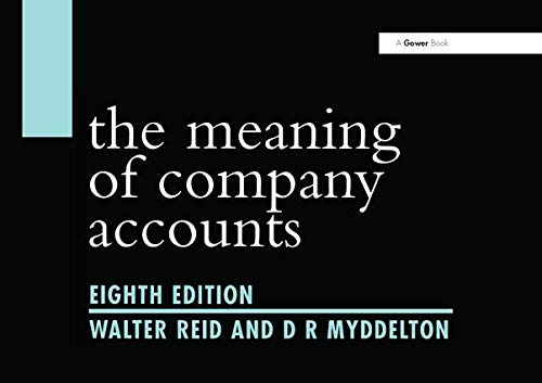 The Meaning Of Company Accounts (0566086603) by Reid, Walter; Myddelton, D. R.