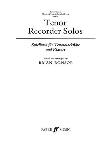 9780571504749: Tenor Recorder Solos: Parts (Faber Edition)