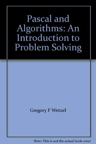 9780574186300: Pascal and Algorithms: An Introduction to Problem Solving