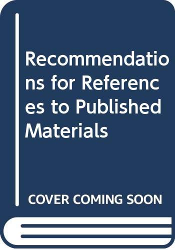 9780580162039: Recommendations for References to Published Materials