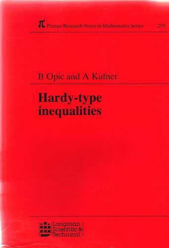 9780582051980: Hardy-type Inequalities (Pitman Research Notes in Mathematics Series)