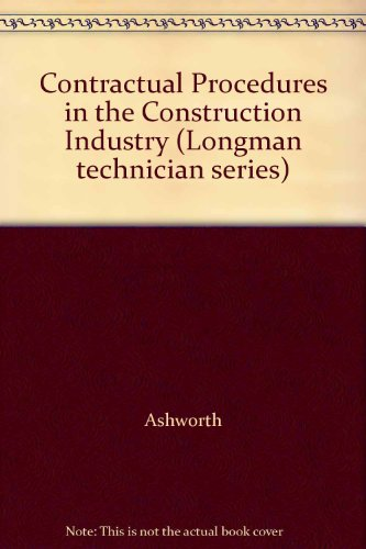 9780582076174: Contractual Procedures in the Construction Industry (Longman technician series)