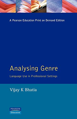 9780582085244: Analysing Genre: Language Use in Professional Settings