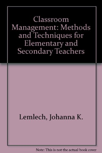 9780582286672 Classroom Management Methods And Techniques For