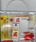 Cliffords Bag of Fun/Book, Paper, Crayons, Eraser, Puzzle Book, and Sticker in a Tote Bag: ...