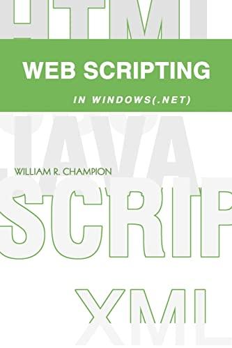 Web Scripting In Windows (.net): Champion, William R.