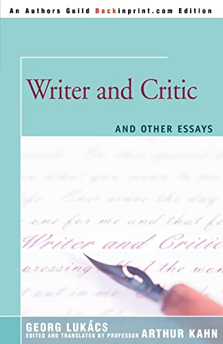 9780595366354: Writer and Critic: and Other Essays