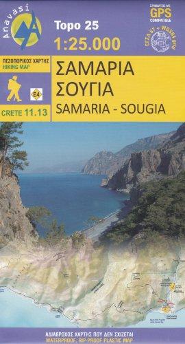 9780608195858: Samaria - Sougia (Crete, Greece) 1:25,000 Hiking Map, waterproof, GPS-compatible ANAVASI