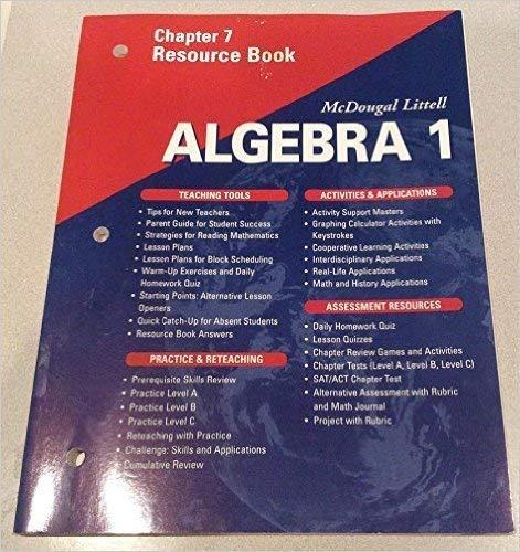 9780618020119: McDougal Littell Algebra 2: Resource Book: Chapter 3