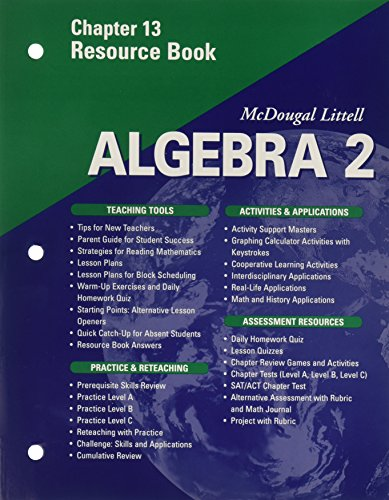 9780618020164: McDougal Littell Algebra 2: Resource Book: Chapter 8