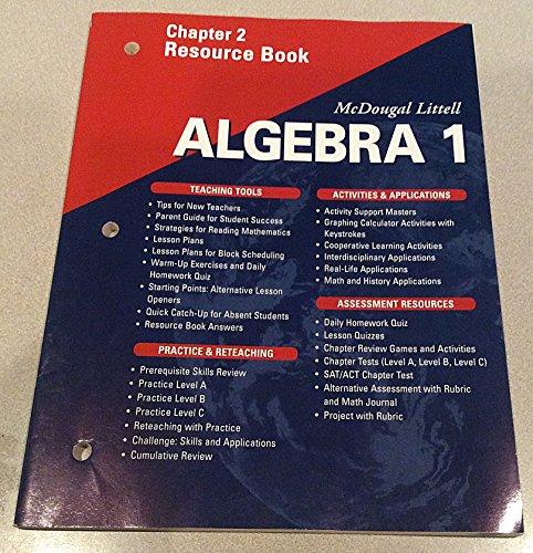 9780618020409: McDougal Littell Algebra 1: Resource Book: Chapter 2