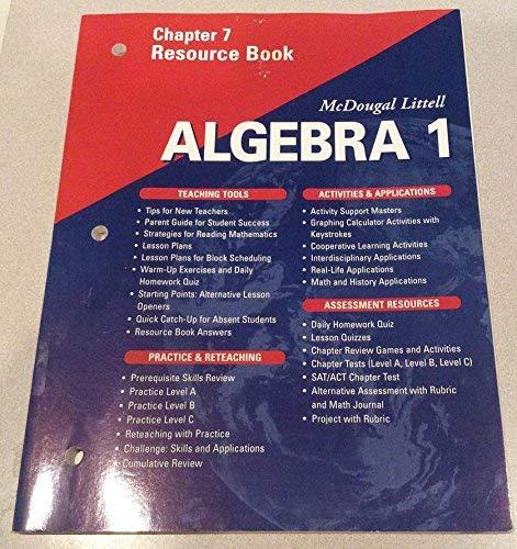9780618020454: McDougal Littell Algebra 1: Resource Book: Chapter 7