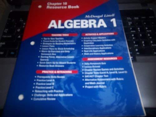 9780618020485: McDougal Littell Algebra 1: Resource Book: Chapter 10
