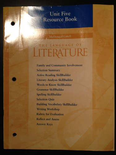 9780618025015: The Language of Literature, Grade 6: Unit Five, Resource Book