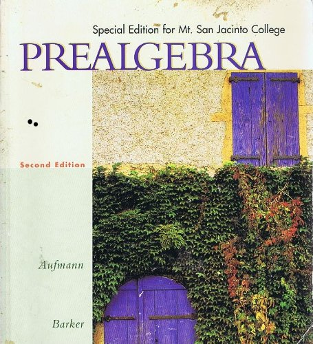 Prealgebra (Special Edition for Mt. San Jacinto: Richard Aufmann, Vernon