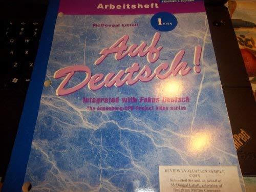 9780618029709: Auf Deutsch!: Teacher's Edition Workbook Level 1-Eins