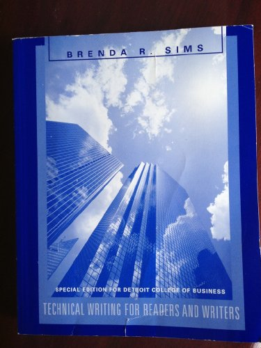 Technical Writing for Readers and Writers (Special: Brenda R. Sims