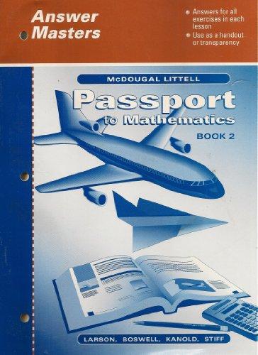 9780618041442: Passport to Mathematics Book 2, Answer Masters (1999)