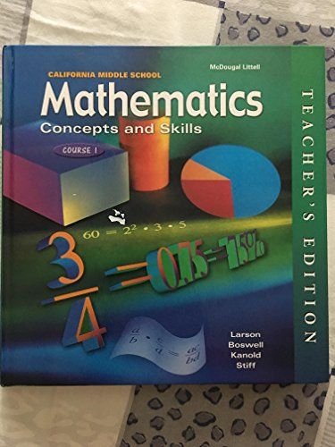 California Middle School Mathematics: Concepts and Skills, Course 1(Teacher's Edition) (0618050469) by MCDOUGAL LITTEL
