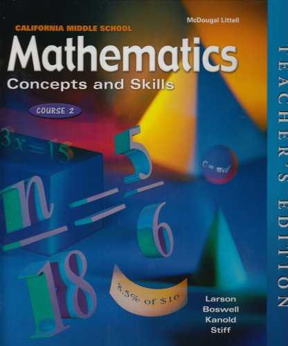 9780618050505: Mathematics Concepts and Skills: Course 2, California Middle School Teacher's Edition