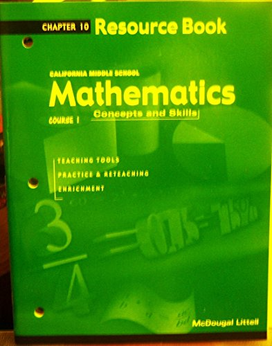 California Middle School Mathematics: Resource Book (Course 1, Chapter 10): Editor-McDougal Littell