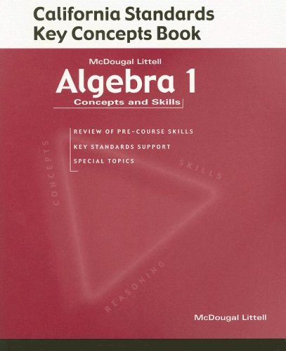 9780618078769: McDougal Littell Concepts & Skills California: California Standards Key Concepts book (student) Algebra 1