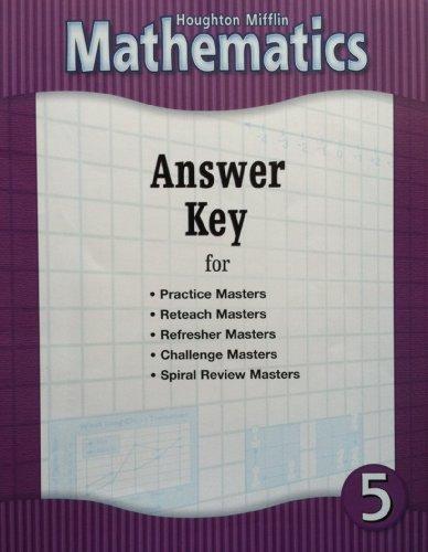 Houghton Mifflin Mathematics: Answer Key for Practice: HOUGHTON MIFFLIN