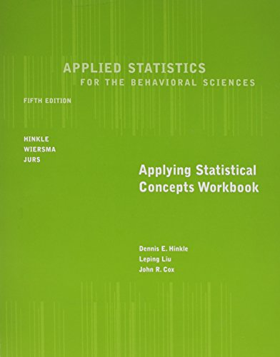 9780618124060: Workbook for Hinkle/Wiersma/Jurs' Applied Statistics for the Behavioral Sciences, 5th