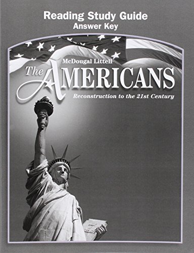 9780618176182: The Americans: Reading Study Guide Answer Key Grades 9-12 Reconstruction to the 21st Century