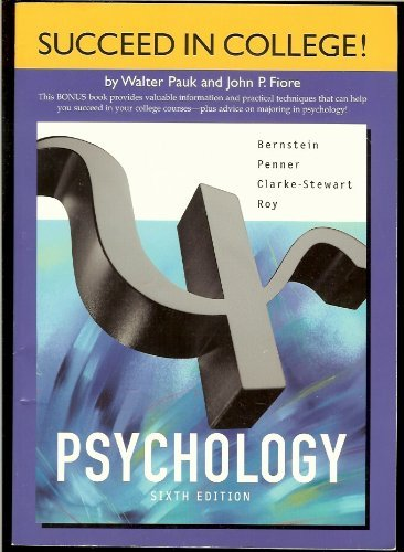 9780618219896: Pauk Chapters for Bernstein/Penner/Clarke-Stewart/Roy S Psychology, 6th