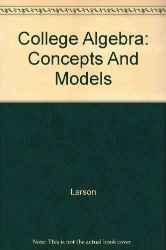9780618220281: College Algebra: Concepts and Models Student Study Guide, Fourth Edition