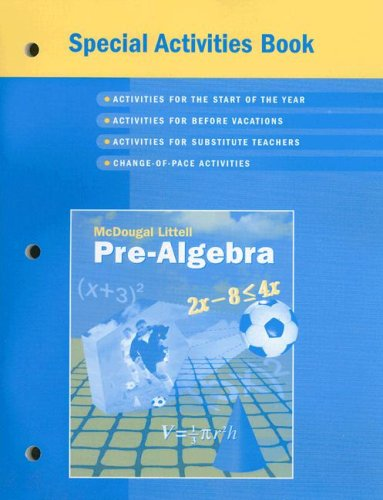 McDougal Littell Pre-Algebra: Special Activities Book: MCDOUGAL LITTEL
